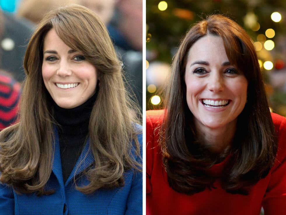 HERTUGINNE KATE: 33-åringen er kjent for sitt tykke, mørke hår. I desember viste hun fram en kortere versjon av den klassiske hårsveisen. Foto: NTB Scanpix