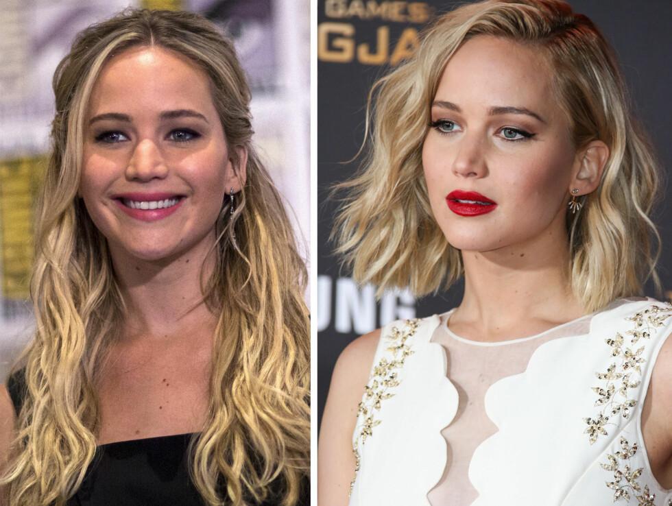 JENNIFER LAWRENCE: Hunger Games-stjernen ser hot og edgy ut med sin nye hårsveis (høyre). Begge bildene er tatt i 2015. Foto: NTB Scanpix