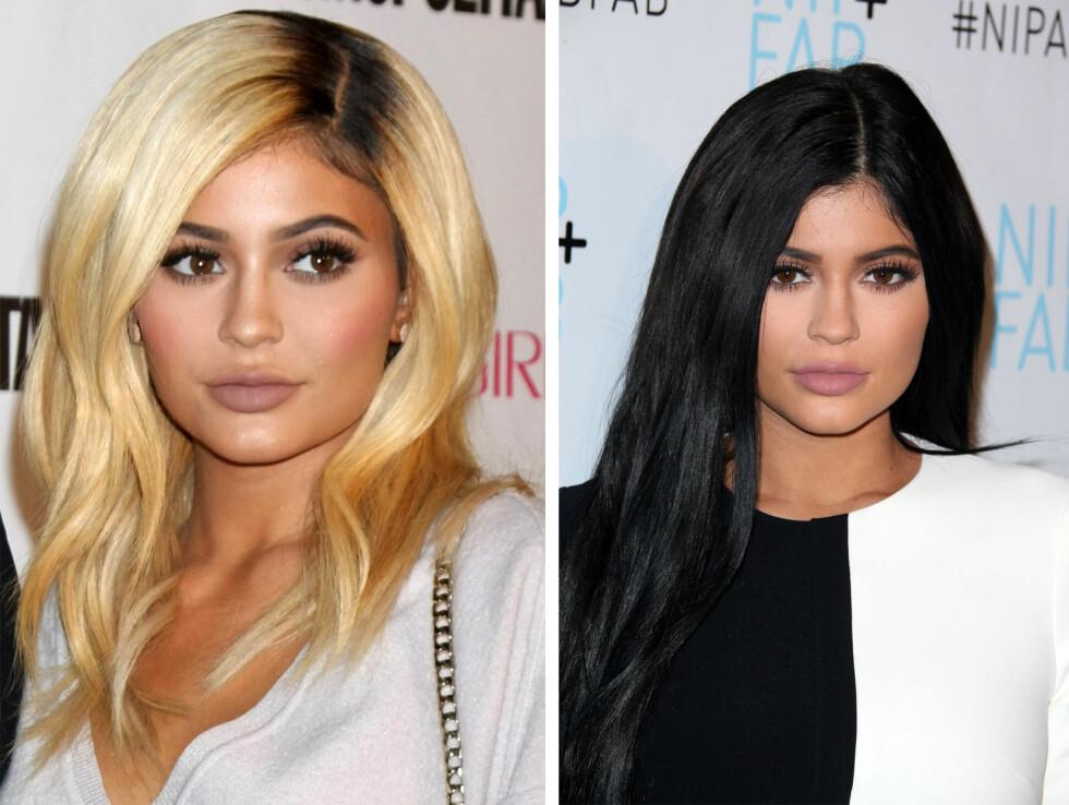 KYLIE JENNER: Kort tid etter at halvsøster Kim Kardashian hadde farget håret blondt, valgte Kylie Jenner (18) å gjøre det samme.  Foto: NTB Scanpix