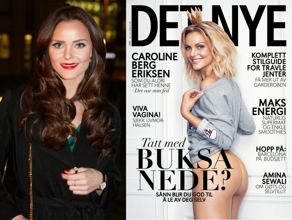 FØR OG NÅ: I februar hadde Caroline Berg Eriksen langt, mørkt hår. Men da hun i september 2015 poserte på forsiden av Det Nye viste hun fram sin korte, blonde look. Foto: NTB Scanpix / Faksimile Det Nye