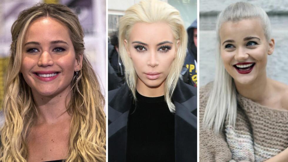 FRISYRE: Skuespiller Jennifer Lawrence (25), reality-kjendis Kim Kardashian (35) og artist Sandra Lyng (28) har alle tre testet ut ny hårlook i løpet av 2015. Foto: NTB Scanpix og @lydiawho (av Sandra Lyng)