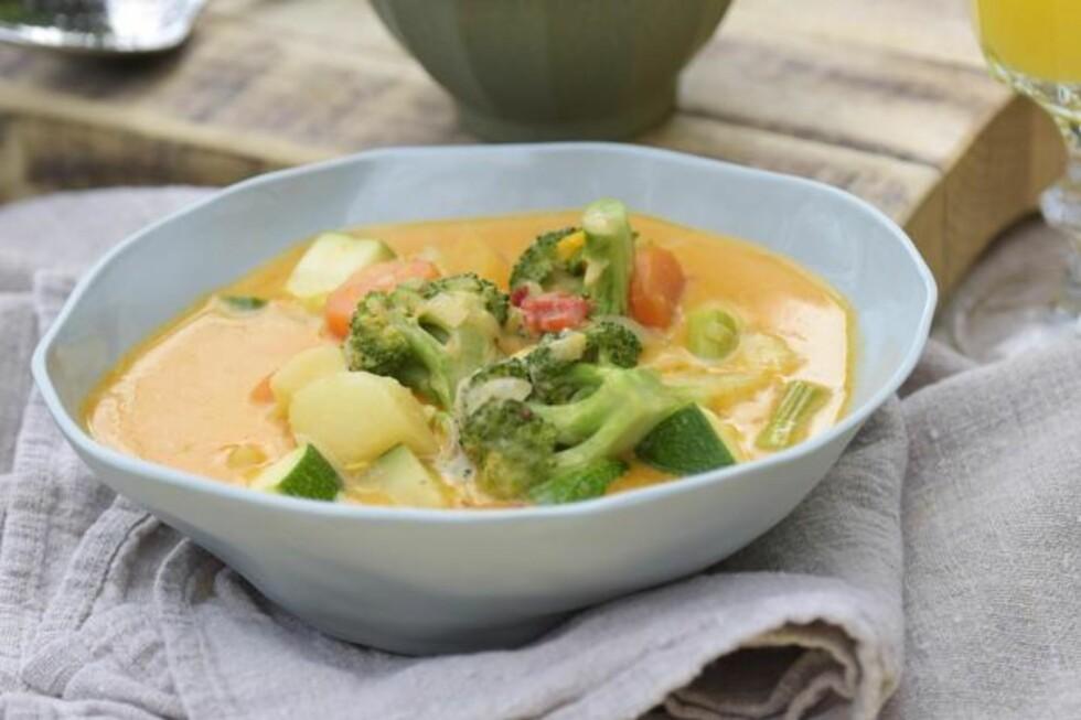 Gryterett uten kjøtt: Bare masse sunne grønnsaker! Foto: Fru Timian