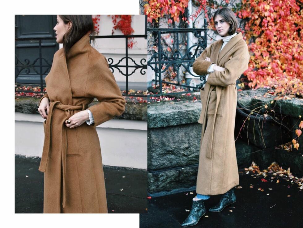 VARME PLAGG: Gjør som Darja Barannik og gå for en deilig høyhalset genser og en lekker, varm kåpe! Foto: Darjabarannik.com