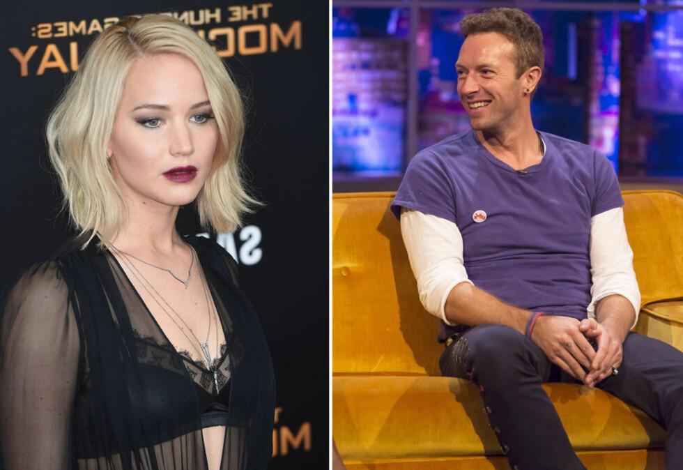 """OVER OG UT – IGJEN: I år gjorde skuespiller Jennifer Lawrence og """"Coldplay""""-vokalist Chris Martin det slutt for andre gang. Foto: Scanpix"""