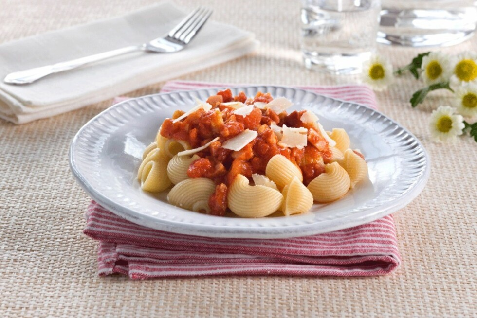 PASTA ARRABIATA: Forfriskende italiensk smak.  Foto: Opplysningskontoret for egg og kjøtt