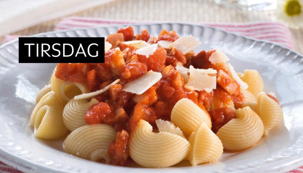PASTA ARRABIATA: Dette er en god pastasaus med chilismak og den er enkel  å lage og god å spise! Foto: Opplysningskontoret for egg og kjøtt