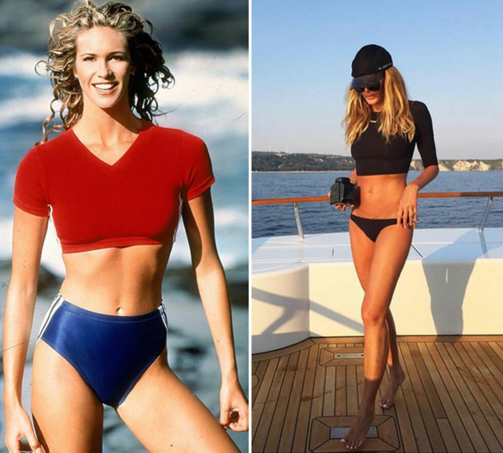FORTSATT LIKE FLOTT: Hele 20 år skiller disse to bildene av Elle Macpherson. Foto: Skjermdump fra Instagram