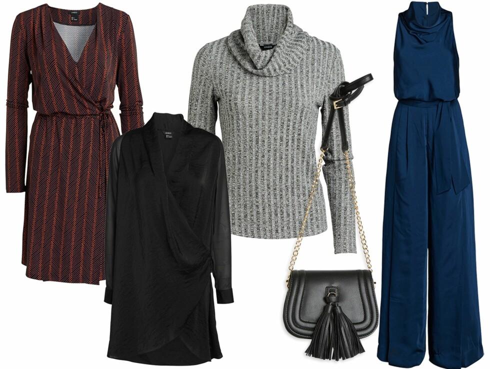 FRA LINDEX: Mønstret kjole, kr 299. Tunika, kr 299. Grå overdel, kr 299. Veske, kr 199. Jumpsuit, kr 799. Foto: Produsenten
