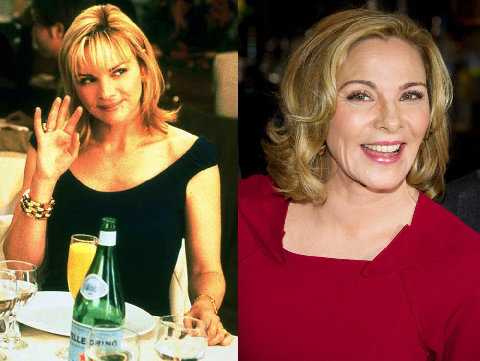 SKILT TRE GANGER: Kim Cattrall spilte den sexgale, dønn ærlige og «evig ugifte og barnløse» forretningskvinnen Samantha Jones i den populære TV-serien. Bildet til venstre er fra serien, og ble tatt i 2000. Bildet til høyre er fra 2011. Foto: HBO / NTB Scanpix
