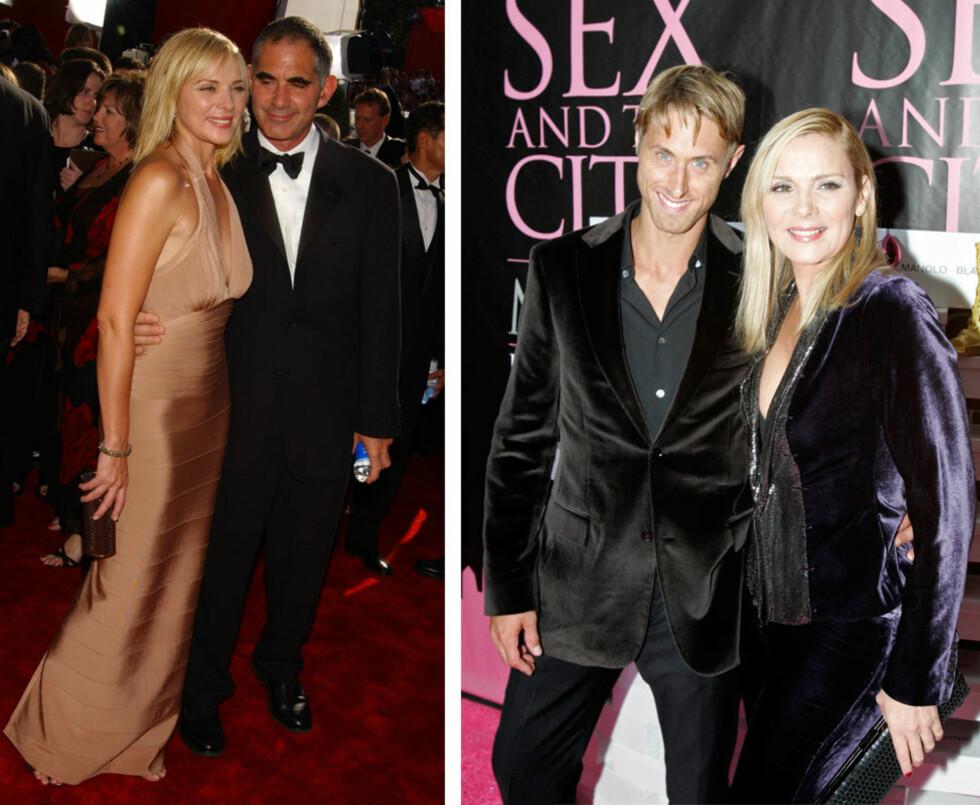 KIMS MANGE MENN: Kim Cattralls rollefigur Samantha Jones er kjent for sin appetitt for menn, og også på privaten har den britiskfødte skuespilleren att flere friere å velge mellom. Her med ektemannen Mark Levinson (t.h.), som hun var gift med i perioden 1998 til 2004, og den 22 år yngre ekskjæresten Alan Wyse (t.v.). Wyse og Cattrall var kjærester i fem år, før forholdet tok slutt i 2009. Foto: NTB Scanpix