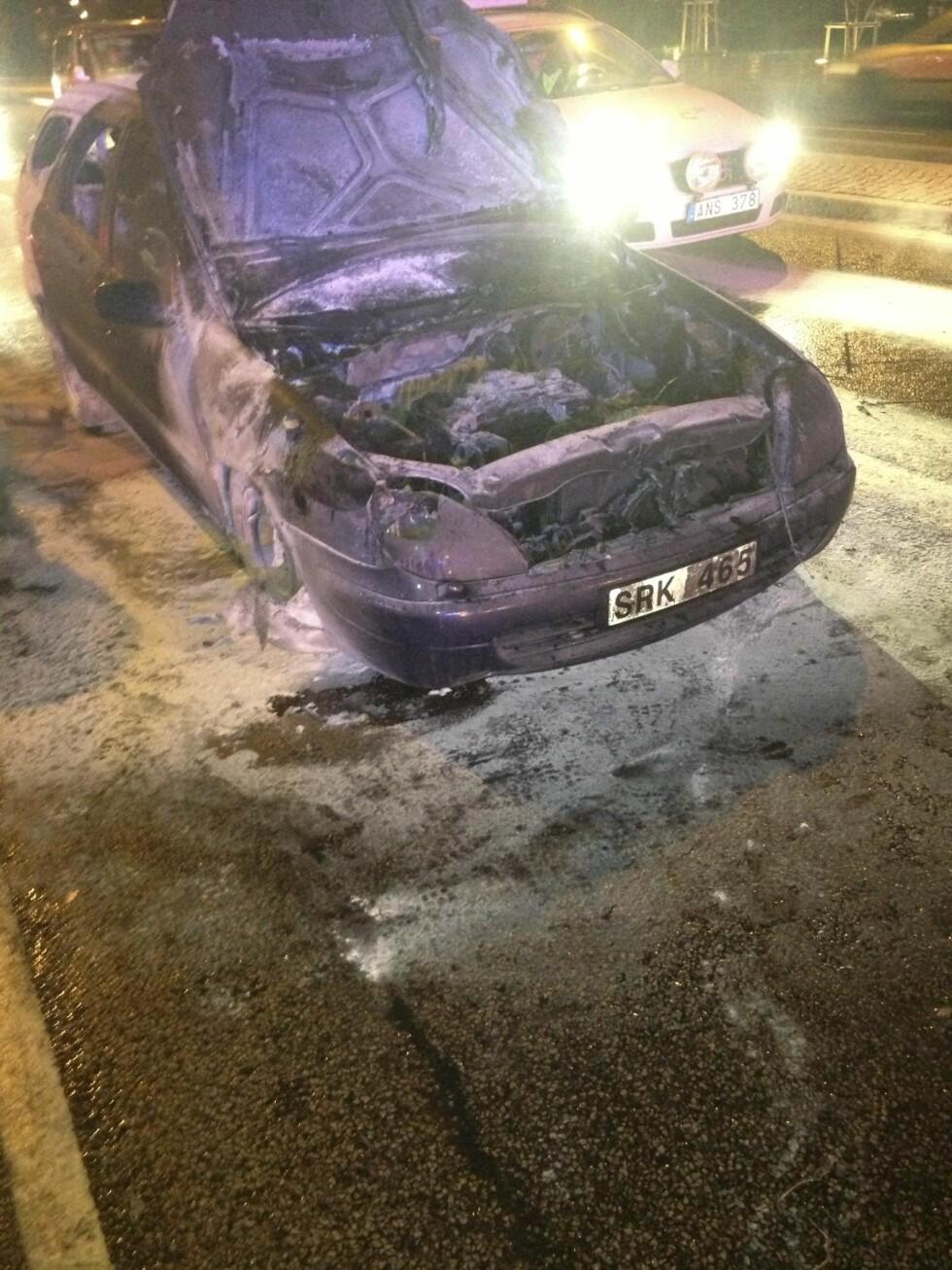 <strong>Totalskadd:</strong> Bilen ble fullstendig utbrent. Foto: Privat