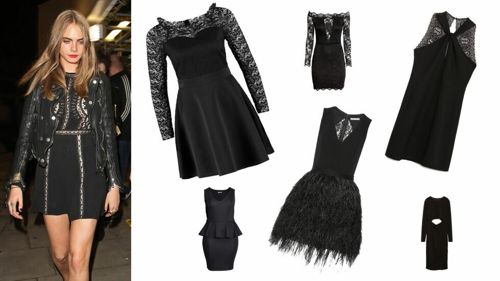 DEN LILLE SORTE: Gjør som den festglade britiske modellen Cara Delevingne (23) - sprit opp den sorte kjolen med røffe detaljer og sterk sminke! Se alle de 10 variantene av «den lille sorte» nederst i saken. Foto: NTB Scanpix og produsentene