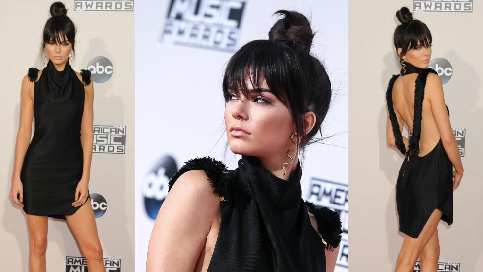 KENDALL JENNER: I slutten av november deltok Kendall Jenner på American Music Awards i Los Angeles, og det var ikke bare den avslørende kjolen som vakte oppsikt på rød løper. Også Kendalls nye klipp ble både beundret og omtalt av både fans såvel som motekritikere. Foto: NTB Scanpix