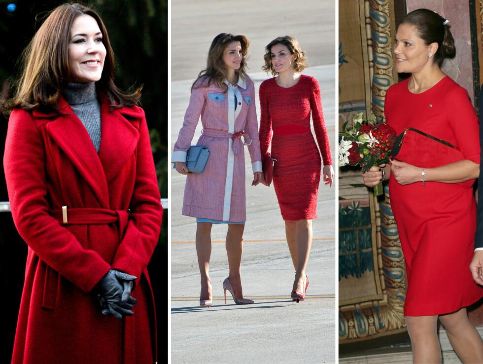 <strong>RED HOT PRINCESS:</strong> Kronprinsesse Mary av Danmark, dronning Rania av Jordan, dronning Letizia av Spania og kronprinsesse Victoria av Sverige har alle fire de siste ukene ikledd seg røde antrekk - og de ser alle like vakre ut. Foto: NTB Scanpix