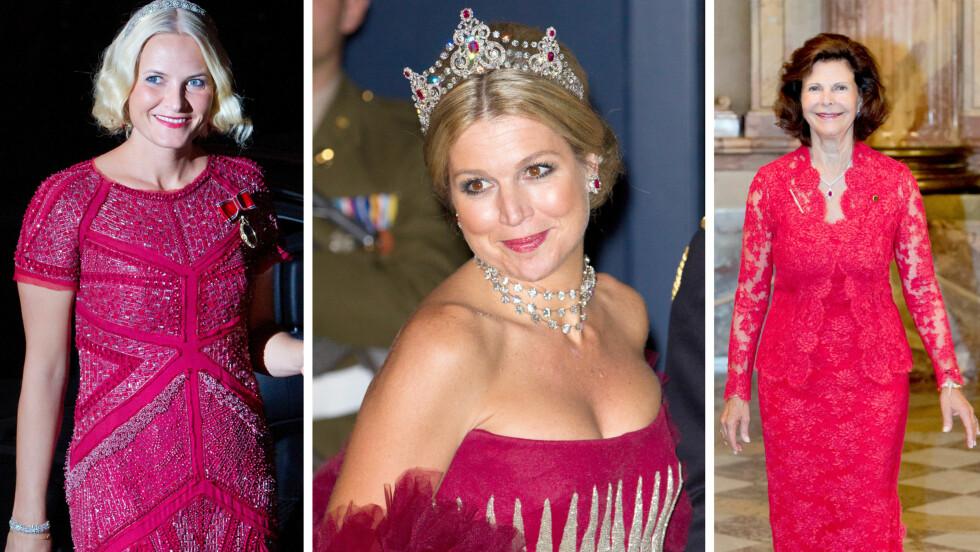 <strong>KONGELIGE I RØDT:</strong> Kronprinsesse Mette-Marit (42) av Norge, dronning Maxima (44) av Nederland og dronning Silvia (71) av Sverige er alle rojale navn som elsker å kle seg i rødt. Bildene av Mette-Marit og Maxima er tatt under prinsebryllupet i Luxembourg i 2012, mens bildet av dronning Silvia er fra september. Foto: NTB Scanpix