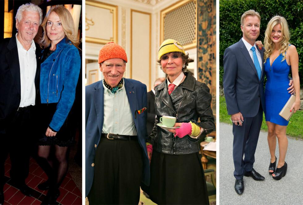 <strong>PAR:</strong> Skuespiller Toralv Maurstad (89) har vært gift med skuespillerkollega Beate Eriksen (55) siden 1999. 18 år skiller mangemilliardær Olav Thon (92) og samboeren Sissel Berdal Haga (74). Artist Sandra Lyng Haugen (28) var for fire år siden kjæreste med den norske eiendomsmogulen Torben Frantzen (43). De gjorde det slutt etter to år. Foto: NTB Scanpix