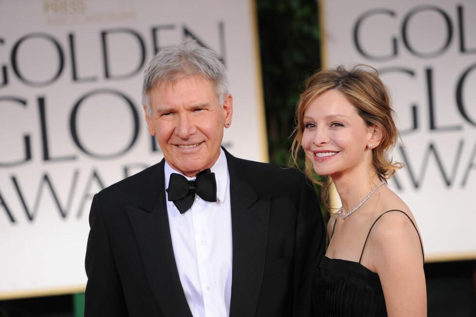 <strong>23 ÅRS FORSKJELL:</strong> Skuespiller paret Harrison Ford (73) og Calista Flockhart (51) begynte å date i 2002. De giftet seg i 2010. Foto: NTB Scanpix