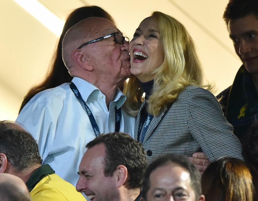 <strong>   25 ÅRS FORSKJELL:</strong> Mediamogul Rupert Murdoch (84) har funnet lykken med den tidligere modellen Jerry Hall (59).    Foto: NTB Scanpix