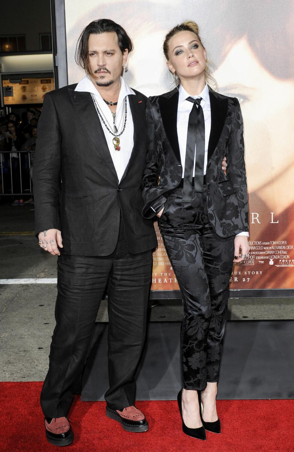 <strong>23 ÅRS FORSKJELL:</strong> Skuespillerparet Johnny Depp (52) og Amber Heard (29) giftet seg i mars. Foto: NTB Scanpix