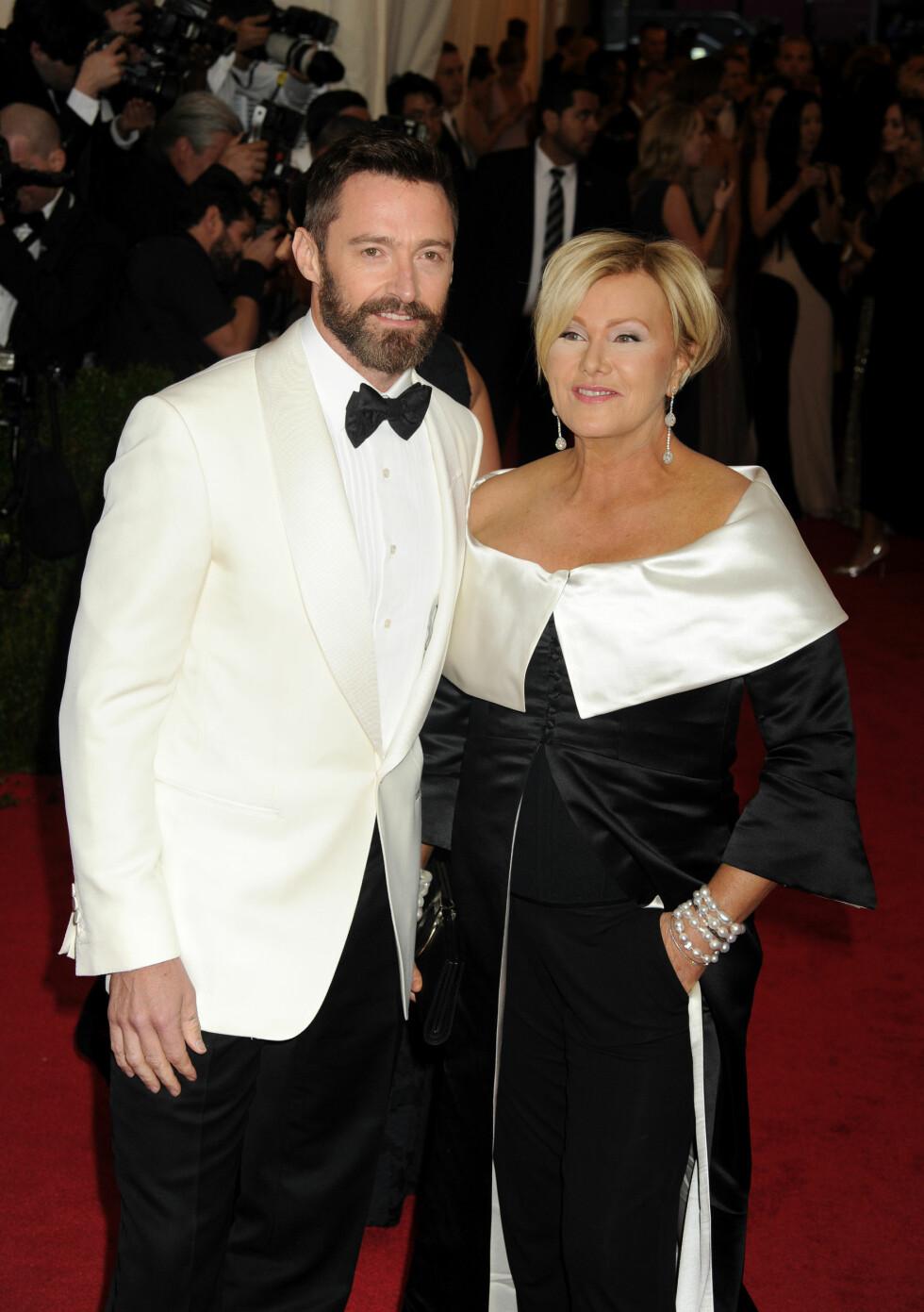 <strong>12 ÅRS FORSKJELL:</strong> Den australske skuespilleren Hugh Jackman (47) har vært gift med Deborra-Lee Furness (59) siden 1996. De har to barn sammen. Foto: NTB Scanpix