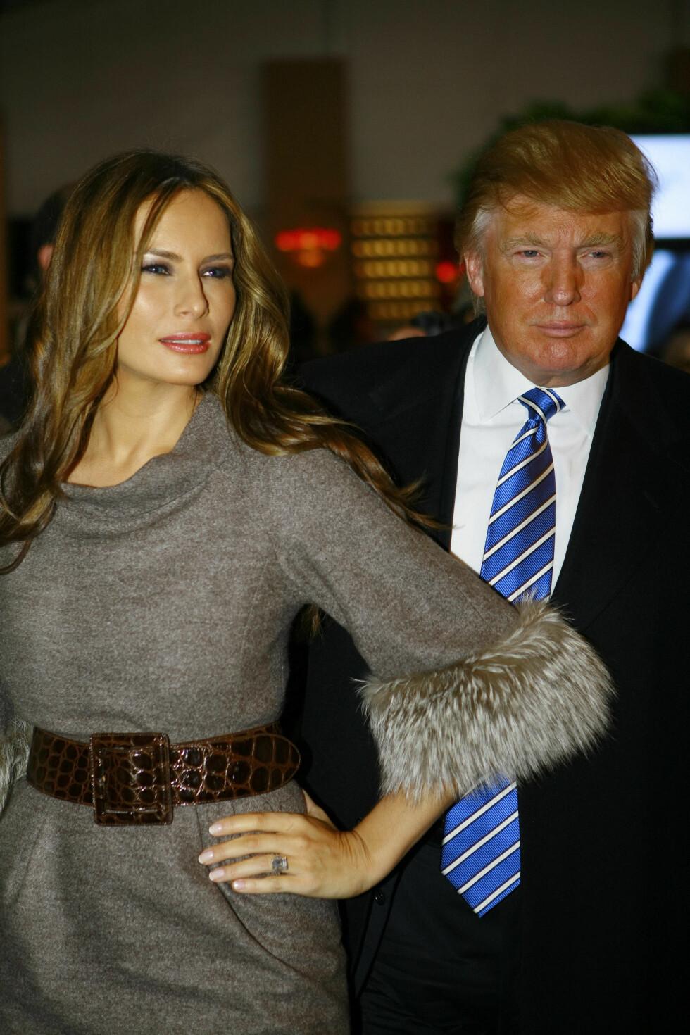 <strong>24 ÅRS FORSKJELL:</strong> Den amerikanske forretningsmannen Donald Trump (69) har vært gift med den slovenske brunetten Melania Knauss (45) siden 2008. De har ett barn sammen. Foto: NTB Scanpix