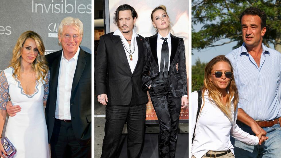 <strong>ALDERSFORSKJELL:</strong> Richard Gere (66) har funnet lykken med 32 år gamle Alejandra Silva. Det er 23 år som skiller skuespiller-ekteparet Johnny Depp (52) og Amber Heard (29). Denne uken giftet skuespiller Mary-Kate Olsen (29) seg med sin franske kjæreste Olivier Sarkozy (46). Foto: NTB Scanpix
