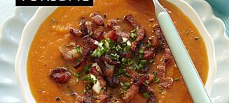 Tomatsuppe med bacon og gulrot