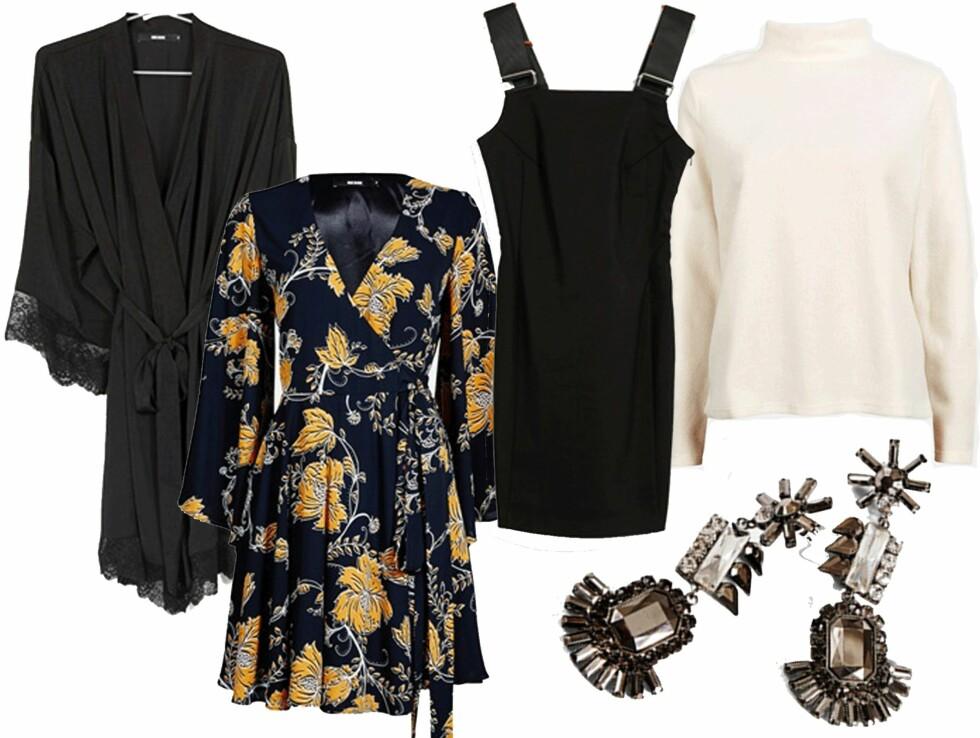 FRA BIKBOK: Kimono, kr 299. Mønstret kjole, kr 399. Sort kjole fra Never Denim, kr 599. Hvit genser, kr 199. Øredobber, kr 149. Foto: Produsenten