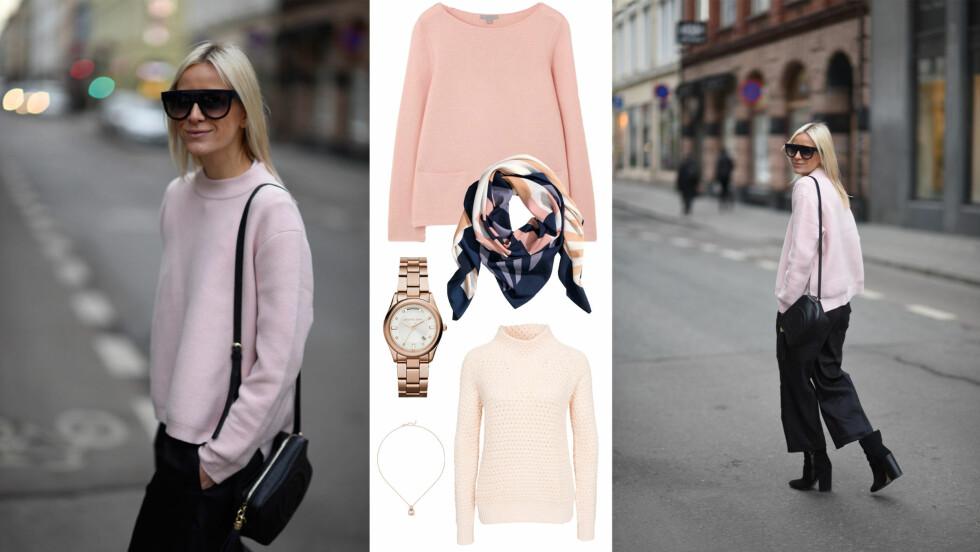 SHOP PUDDERROSA: Gjør som Celine og kle deg i denne fargen i vinter. Foto: Janka Polliani, Produsentene.