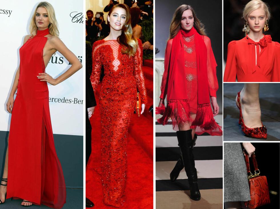 Fra venstre supermodell Lily Donaldson og Amber Heard og høstmoten til H&M, Dolce & Gabbana og Emilio Pucci. Foto: All Over Press