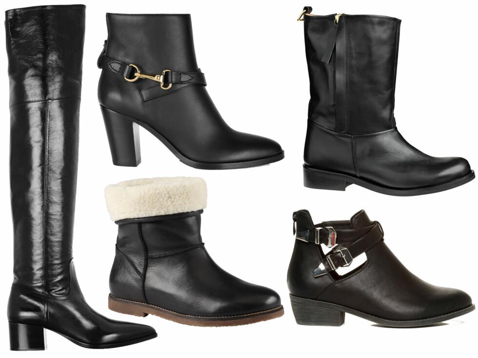 BOOTS I SKINN: Høye boots til over knærne , til halv pris (cirka kr 3400, Miu Miu/Net-a-Porter), med  gyllen lenke til luksuspris (cirka kr 5700, Burberry), røffe støvler i skinn (fra By Malene Birger), med lodden foring (kr 1400, Aldo) og med spenner (kr 500, Din Sko).  Foto: Produsenter