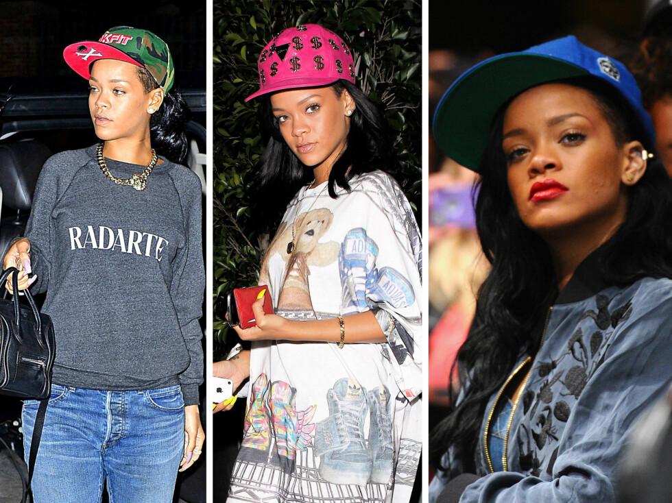 CAPS-DRONNING: Rihanna er en svoren fan av capsen, og bruker de til neste alt i garderobeskapet. Som oftest kombinerer hun capsen med slitte jeans, collegegensere og skinnjakker.  Foto: All Over Press