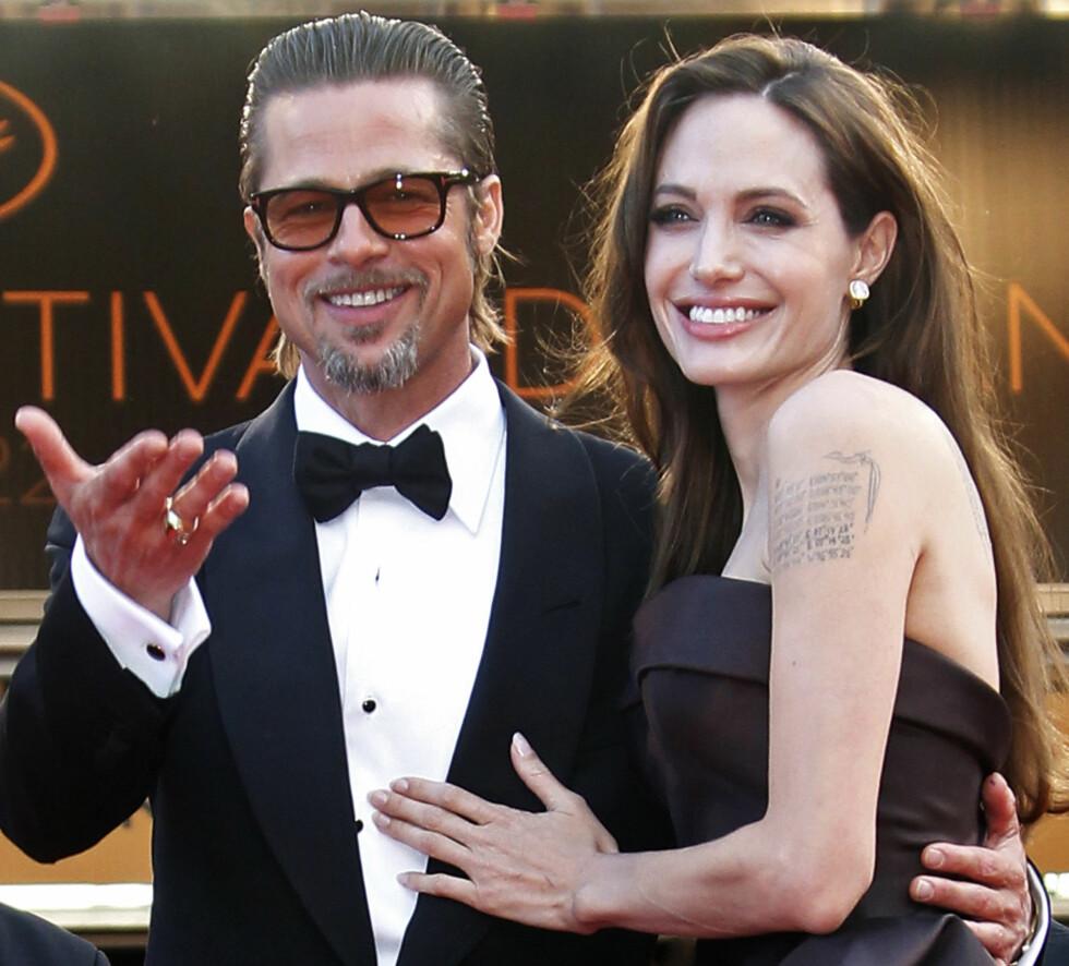 BRANGELINA: Brad Pitt og Angelina Jolie har vært sammen i ti år. Utfordringen deres er å få tilbrakt nok tid sammen. De sender hverandre kjærlighetsbrev for å holde romantikken i live.  Foto: Reuters