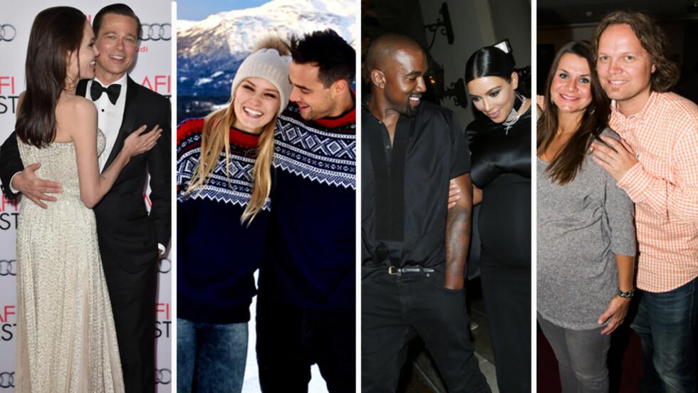 BEVARER GNISTEN: Flere kjendispar avslører hvordan de holder forholdet hot selv etter flere år sammen. Fra venstre; Angelina Jolie og Brad Pitt, Sara Skjoldnes og Ben Adams, Kanye West og Kim Kardashian, Katrine Moholt og Snorre Harstad.  Foto: NTB Scanpix, Privat