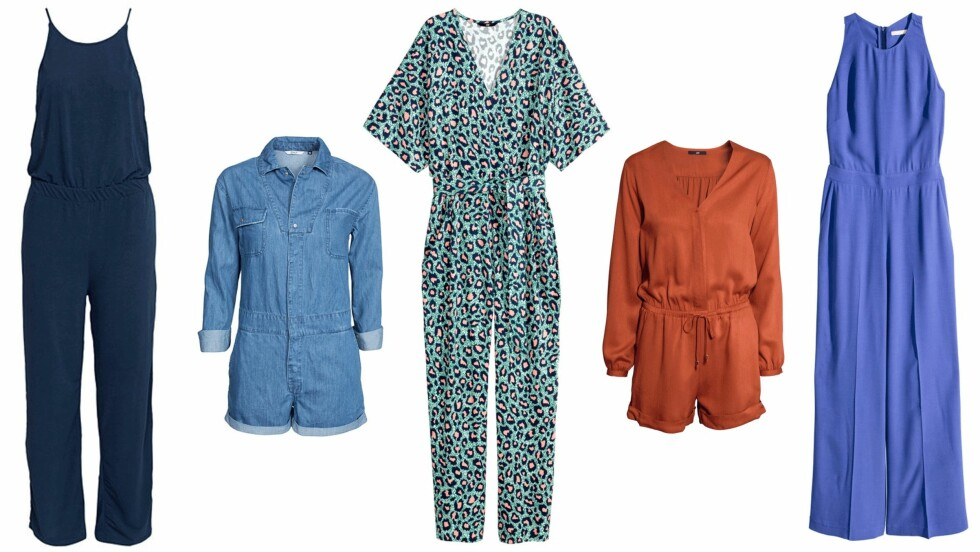 <strong>TRENDPLAGG:</strong> (f.v.) Jumpsuit fra Vila via Nelly.com, kr 279. Jumpsuit fra Only via Nelly.com, kr 459. Jumpsuit fra H&M, kr 349. Jumpsuit fra H&M, kr 249. Jumpsuit fra H&M, kr 499. Foto: Produsenten, Nelly.com
