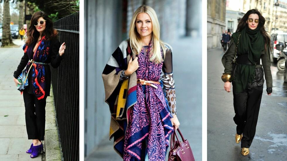 MOTETIPS: Slik styler streetstyle-jentene og moteredaktør Silje Pedersen skjerfet og beltet. Foto: Scanpix, Sara Johannessen