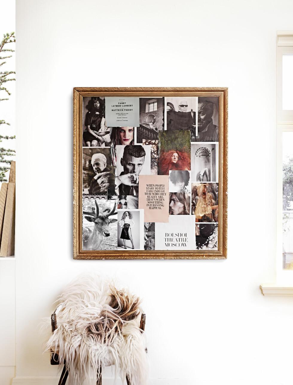 HJEMMELAGET COLLAGE: Kort og vakre bilder har Malin samlet i en gammel ramme. Unik og kul veggpryd! Stolen er gammel fra auksjon.  Foto: Sara Svenningrud