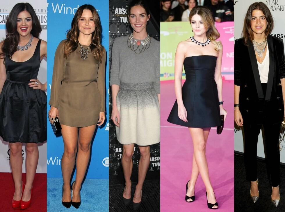 SE OG LÆR: La deg inspirere av kjendisene, og sprit opp kjolen med et statementsmykke. Foto: All Over Press