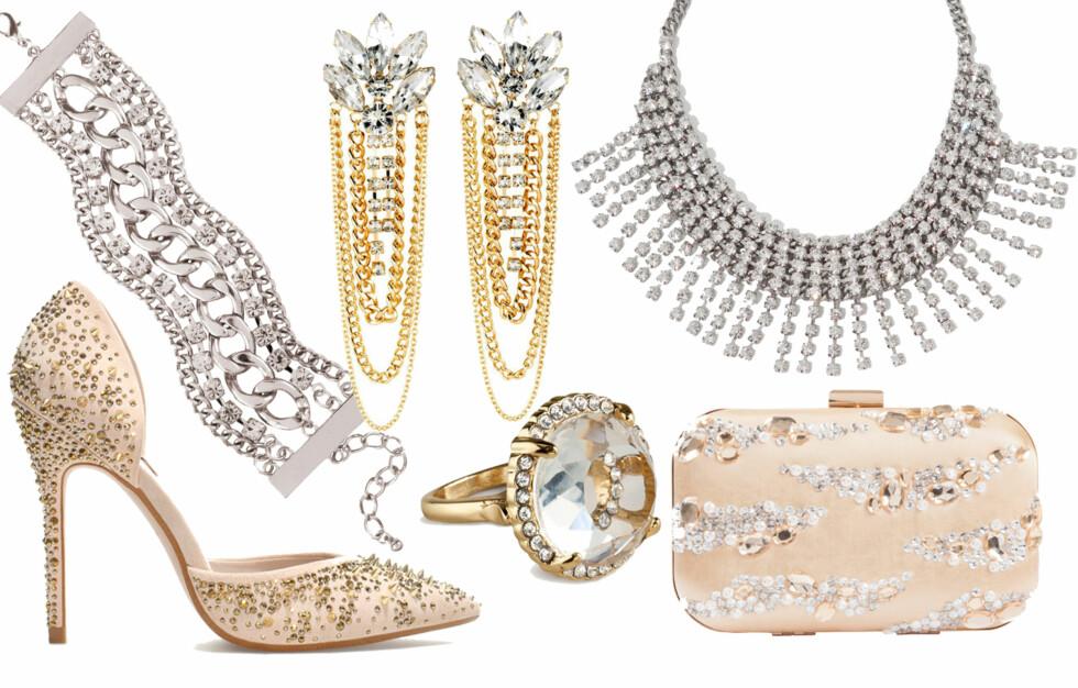 TILBEHØRET SOM HEVER STILEN: Glitter og glamour løfter fjorårets kjole til nye høyder og gjør at du kan bruke den i år også! Foto: Produsentene