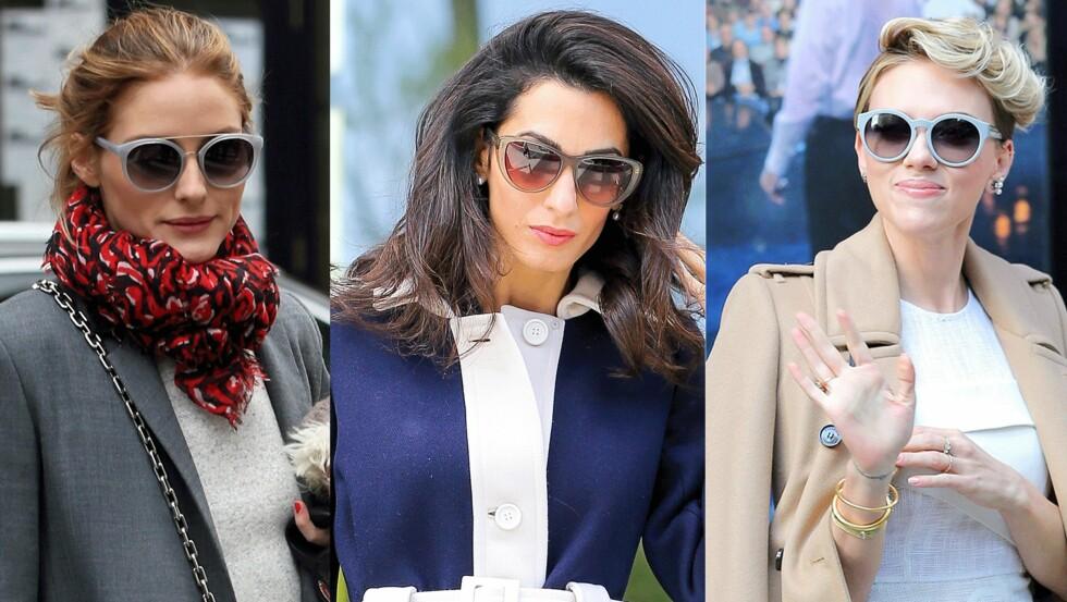 TRE ULIKE TRENDER: Olivia Palermo (29), Amal Clooney (37) og Scarlett Johanson (30) viser ulike solbrilleformer som funker perfekt i sommer. Foto: Scanpix