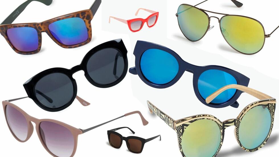 RIMELIGERE SOLBRILLER TIL SOMMEREN: Prisen på disse solbrillene finner du nederst i saken. Foto: Produsentene, Nelly.com, Zalando.no