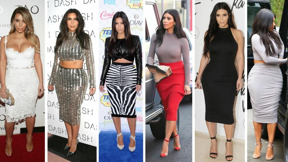 BLYANTSKJØRTET: Kim Kardashian ser vi ofte i akkurat dette skjørtet. Foto: Scanpix
