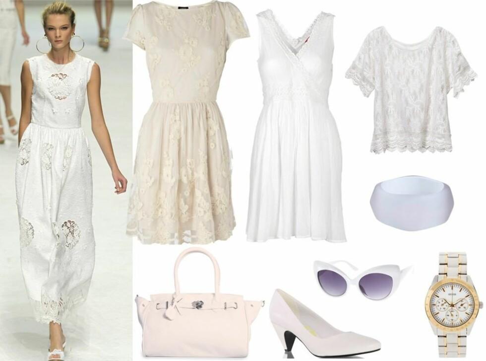 HELHVIT LOOK: Catwalken til Dolce & Gabbana flommer over av hvite blondekjoler, sandaler og tunikaer. Og alt kan brukes samtidig. Hvitt på hvitt - lag på lag. Se informasjon om priser og merker på klærne og tilbehøret lenger ned i saken. Foto: All Over Press/Produsenter