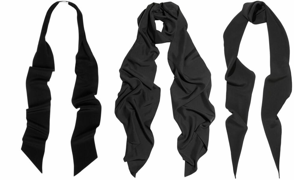 <strong>DESIGNERNE KALLER DET FOR SMOKINGSKJERF:</strong> Både Saint Lauren og Lanvin har tynne silkeskjerf å by på til rundt 1600 kroner, men du kan fint bruke et slips eller finne noen rimelige vintagevarianter. Foto: Net-a-Porter