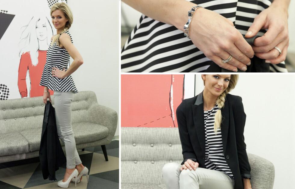 Metallisk bukse, hvit og sort peplumtopp, sort blazer og armbånd fra Lindex.  Foto: Per Ervland
