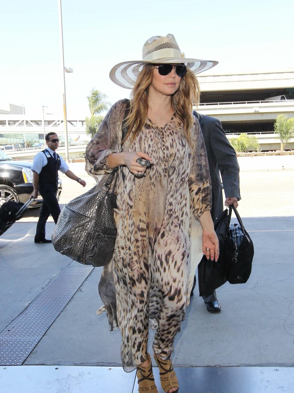 Fergie har en lys variant med stripeeffekt. Foto: All Over Press