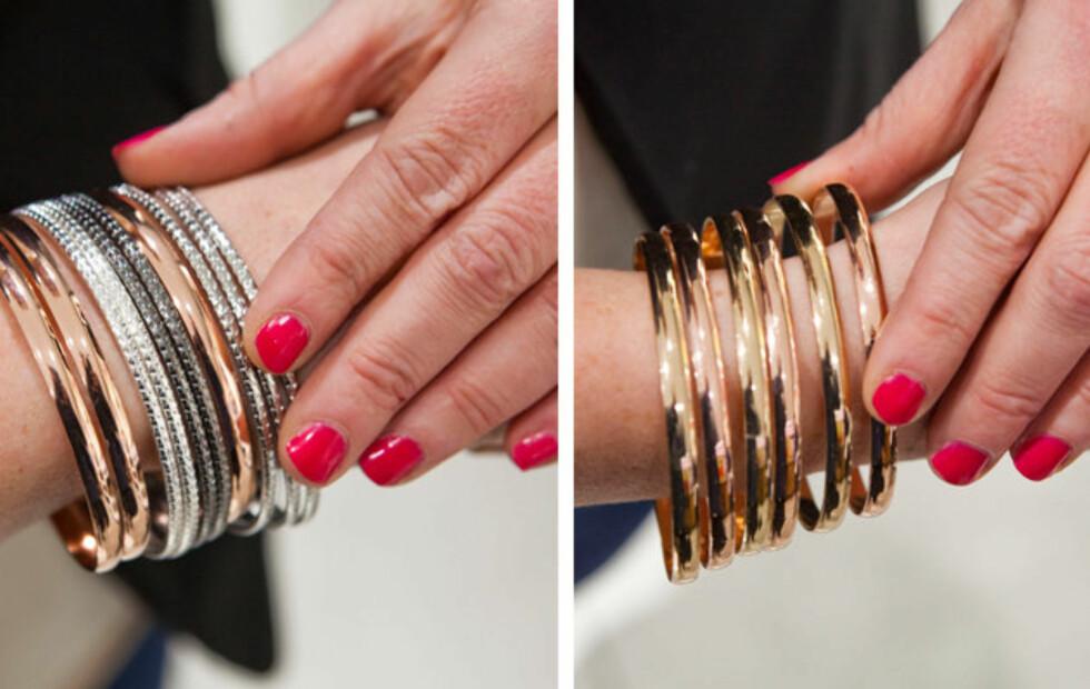 PASSER TIL ALT: Rosegullfargede armbånd passer like godt til sølv- og gullfarget tilbehør, og du kan gjerne bruke alle tre nyanser sammen, ifølge Silje Brøter Olsen ved Aldo. Foto: Per Ervland
