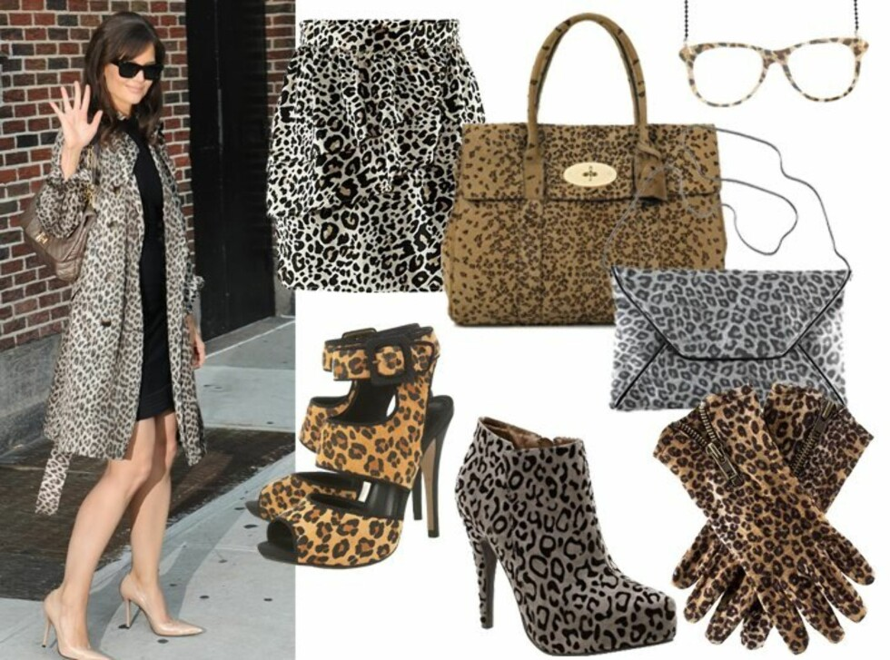 DYRISK DAME: Katie Holmes mestrer leopardmønsteret med en lekker trenchcoat. Du finner forhandlerinfo og priser i bildekarusellen lenger ned i saken. Foto: All Over Press og produsentene