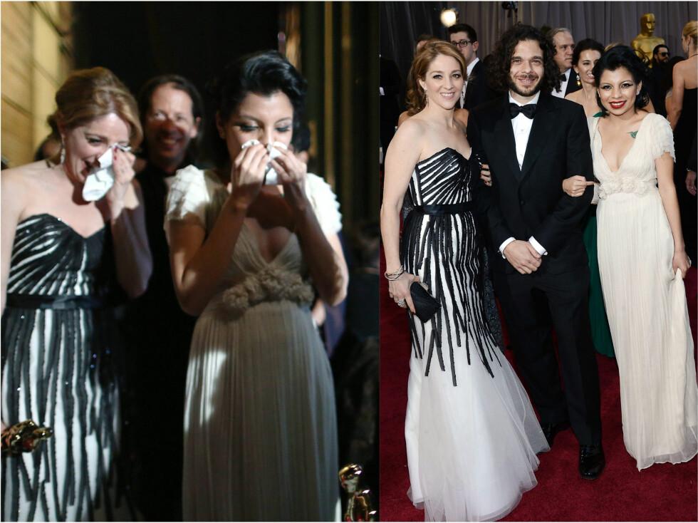 GRÅT AV GLEDE: På bildet til høyre ser du filmskaperene Andrea Nix Fine (i stripete kjole), dokumentarfilmens hovedperson Inocente Izucar og filmskapet Sean Fine. Foto: All Over Press
