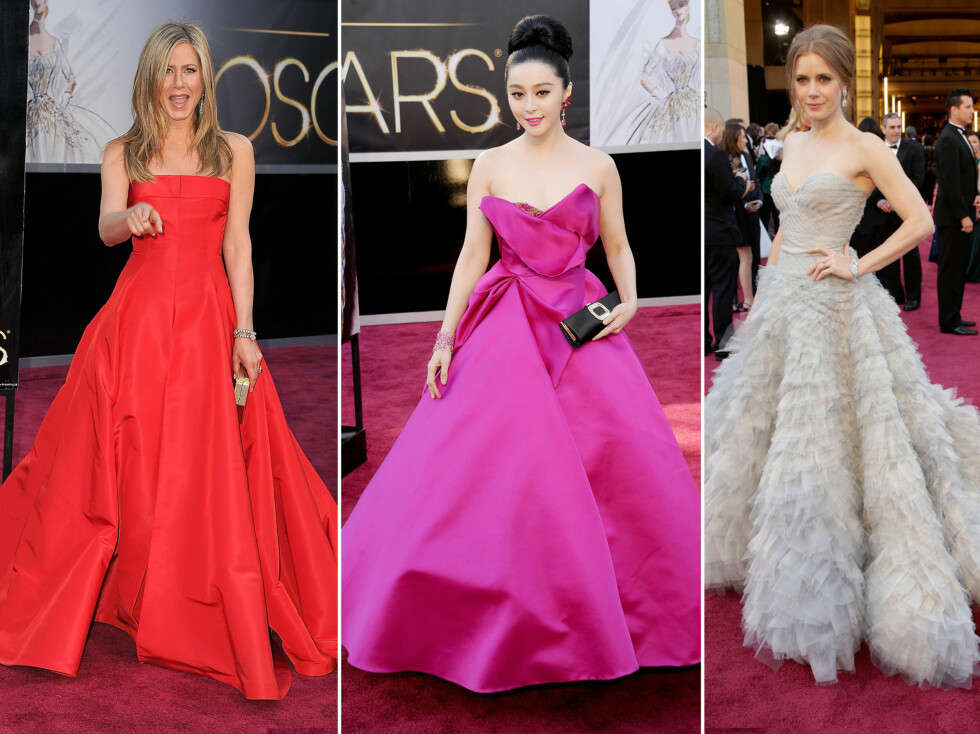 MYE VOLUM: Volum var en av de store trendene under søndagens Oscar-utdeling. Fra venstre - Jennifer Aniston i Valentino, Fan Bingbing i Marchesa og Amy Adams i Oscar de la Renta.  Foto: All Over Press